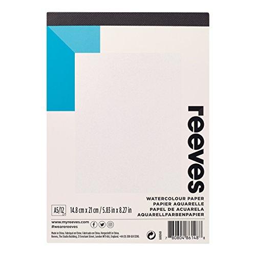 Reeves 8490949 Aquarellblock, 190 g/m² Aquarellpapier,12 Blatt, säurefrei weißes Papier,...