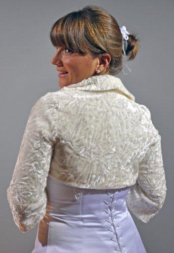 Rivestimento nuziale-Bolero, corto-Bolero, finta pelliccia di Persiano, a maniche lunghe Creme/Ivory