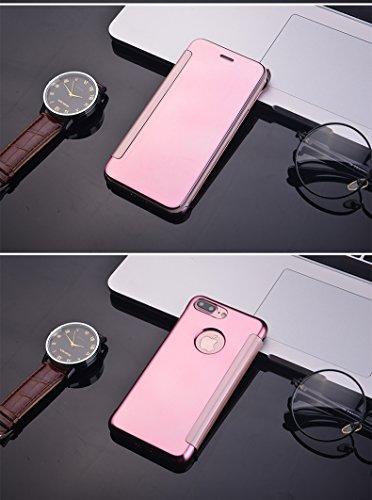 BCIT iphone 7 Cover - Lusso elegante Flash Smart Flip Ultra-sottile vista galvanica specchio trasparente Mobile Phone Shell copertura Per iphone 7 - Argento Ross Oro