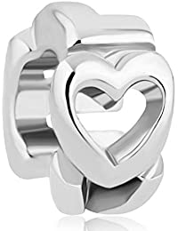 Open Heart Charm Silver Plated Open Heart Love Spacer Bead Fits Pandora Charms Bracelet by Pugster