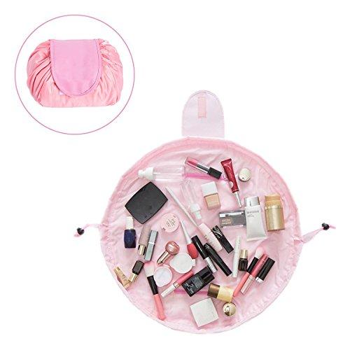 Sac Cosmétique, Esther Beauty Grande Capacité Trousse Maquillage Toiletry Drawstring Sac de Voyage Lazy Sacs de Cosmétique pour Les Femmes (Rose)