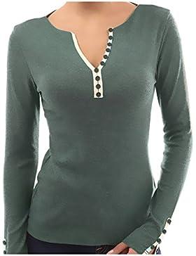 QinMM Mujer Camiseta con Mangas Largas Cuello V Camisa Botón Blusa Jumper Pullover Sudadera Remata T-Shirt
