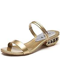 Minetom Mujer Verano Elegante Diamantes De Imitación Áspero Con Sandalias La Palabra Zapatillas Cabeza Pescado Zapatos
