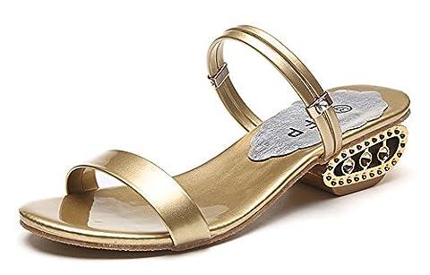 Minetom Damen Sommer Strand Sandalen Pantoffeln Peep Toe Flip Flops Sandaletten 2 Arten von Tragen Stile Gold EU 38