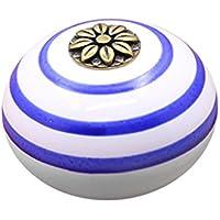 Baoblaze Keramik T/ürknauf M/öbelkn/öpfe Schrankkn/öpfe f/ür K/üchenschrank Kleiderschrank Wei/ß Blau
