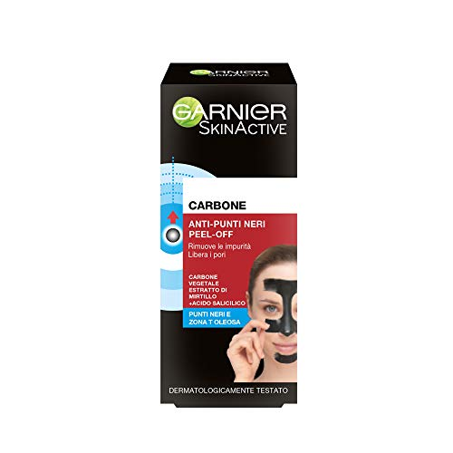 Garnier Pure Active Maschera Peel-Off Contro i Punti Neri e Zona-T, Formula Arricchita con Carbone Vegetale, Efficace in Soli 15 Minuti