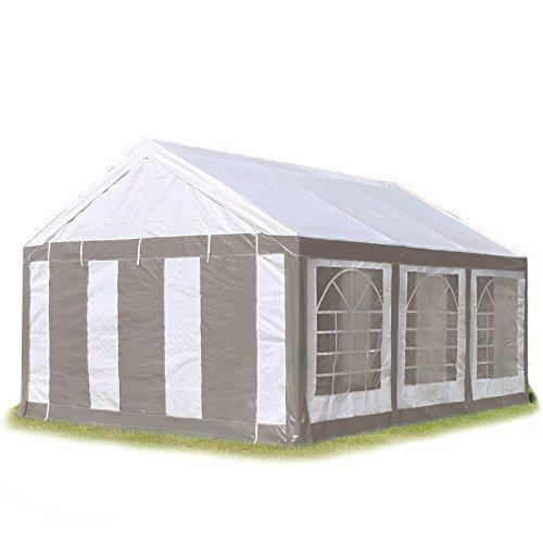 Hochwertiges Partyzelt 4x6 6x4 m Pavillon Zelt 240g/m² PE Plane Gartenzelt Festzelt Bierzelt ! Stahlkonstruktion ! Wasserdicht! Inkl. Seitenteile + Giebelteile ! grau-weiß