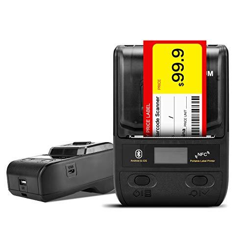 Netum tragbarer Etikettendrucker, 58mm Bluetooth Thermo-Etikettendrucker mit wiederaufladbarem Akku, für Barcode, Büro, Lager, Versand, Kleidung, Schmuck, Etiketten, Drucken NT-G5