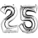 Rdgadgets Solid Silver '25' Numerical Foil Balloon for Birthday Anniversary Celebration