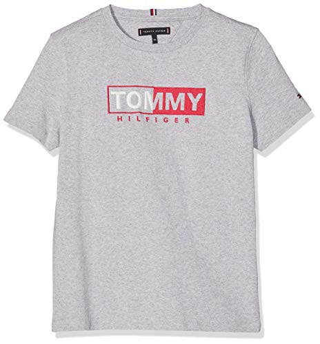 Tommy Hilfiger Jungen Essential Graphic Embr Tee S/S T-Shirt, Grau (Grey Heather 004), 176 (Herstellergröße: 16) -