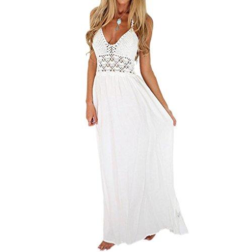 AMUSTER Damen Sommerkleider Frauen Strand Häkeln Rückenfrei Bohemian Neckholder Abend Party Maxi Langes Kleid Sommerröcke Strandröcke Weiß (S, Weiß) -