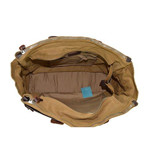 CTM Das Segeltuch -Handtasche mit Schultergurt und Reißverschluss 37x28x14 cm Schlamm