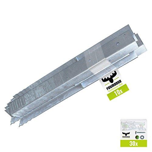 FATMOOSE Winkelanker-Set 10 Stück für Spieltürme, Schaukelgerüste und Leitern, feuerverzinkt, 50 x 4,5 x 4,5cm