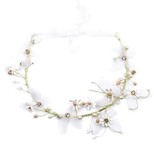 Busirde Frauen-Perlen-Blumen-Stirnband-Brauthochzeits-Schmetterlings-Prom-Kranz-Haarband Romantic Beach Haarschmuck