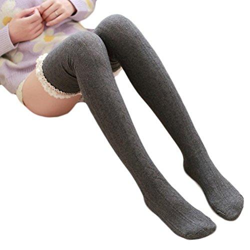Damen Kniestrümpfe Internet Spitzen Winter über Knie Bein Warme weiche Socke stricken (Dunkelgrau) (Socken Kaschmir-knie-hohe)