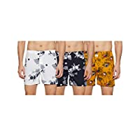 Longies Men's Printed Boxers (Pack of 3) (LGBOXPO3177_ Multicoloured_ Large)