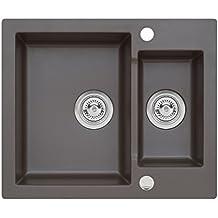 Axis Kitchen Mojito 80 Dark Chocolate Braun Einbau Axigranit 60er Unterschrank Küchenspüle 60x50cm Siphon, Exzenter Spuele