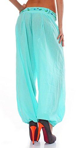 ZARMEXX Haremshose Pumphose mit Gürtel Pluderhose Uni-Farben Ballonhose Aladinhose Harem Hose Sommerhose Yoga One-Size Mint