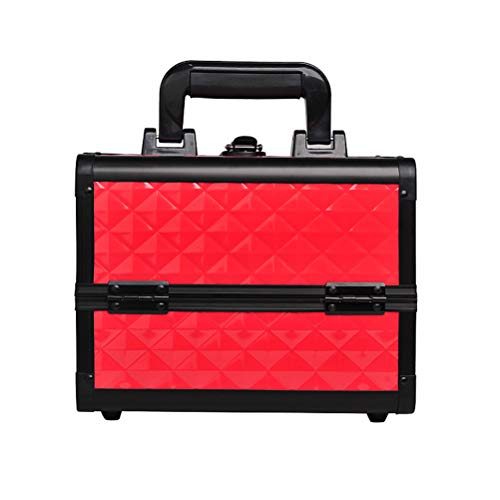 Alliage d'aluminium Malette maquillage Key Box Double Open Hand-Printed Handcase Beauty Case Multi-Layer Multi-Functional Storage Box,Red