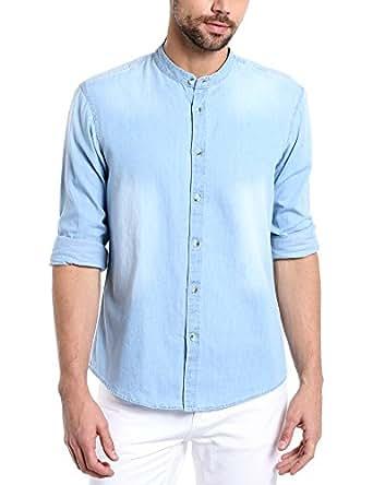 Dennis Lingo Men's Plain Slim Fit Casual Shirt (C503_Light Blue_Large)