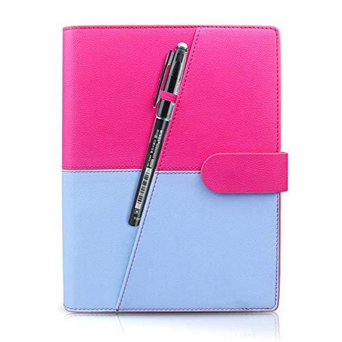 ZCLD Löschbares Notizbuchpapier aus Leder wiederverwendbar Smart Wirebound Notebook Cloud-Speicher Flash-Speicher, pink/blau