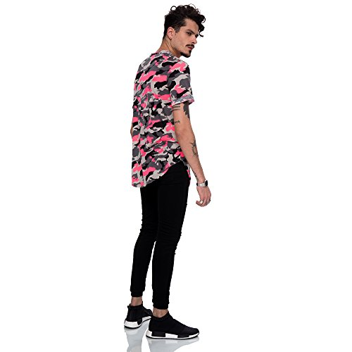 Pizoff Unisex Hip Hop Urban Basic Langes T Shirts mit Tarnmuster Y1728-02