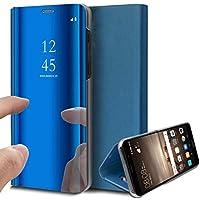 Uposao Handy Tasche Spiegel Xiaomi Redmi 5 Plus Handyhülle Luxus Mirror Case Flip Schutzhülle Clear View Tasche Brieftasche Flip Cover Lederhülle Ledertasche,Blau