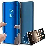 Uposao Handy Tasche Spiegel Xiaomi Mi 5X Handyhülle Luxus Mirror Case Flip Schutzhülle Clear View Tasche Brieftasche Flip Cover Lederhülle Ledertasche,Blau