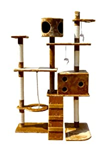 Deluxe Multi Level Cat Scratcher Cat Tree Activity Centre Scratching Post with 2 Caves and Toys and Sleeping Area 2299 Brown Faux Fur 106cm x 60cm x 170cm Height by KMS
