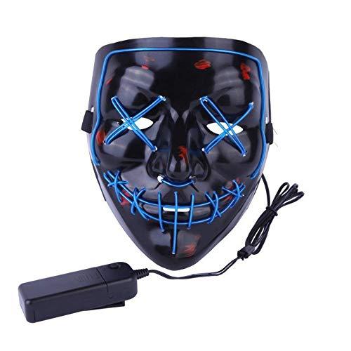 Halloween Mask mit LED-Licht, Stimmsteuerung, LED-Beleuchtung, beleuchtet Party-Masken, tolle lustige Masken, Festival, Cosplay, Kostüm, leuchtet im Dunkeln.