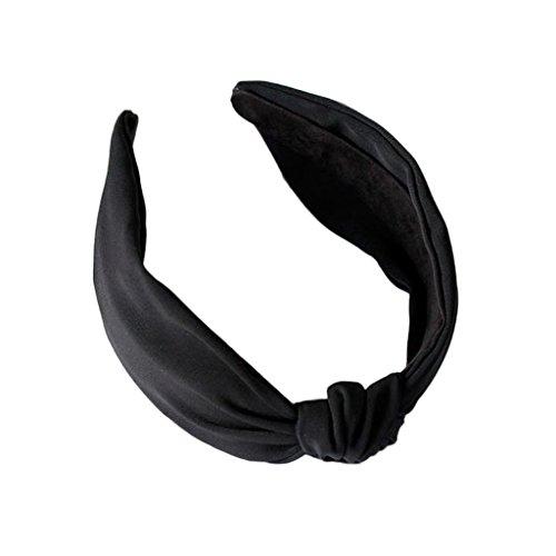 Jiamins Damen Stirnbänder Breit Haarbänder Turban Verdreht Vintage Lässige Bow Knot Einfarbig Haarschmuck (Schwarz)
