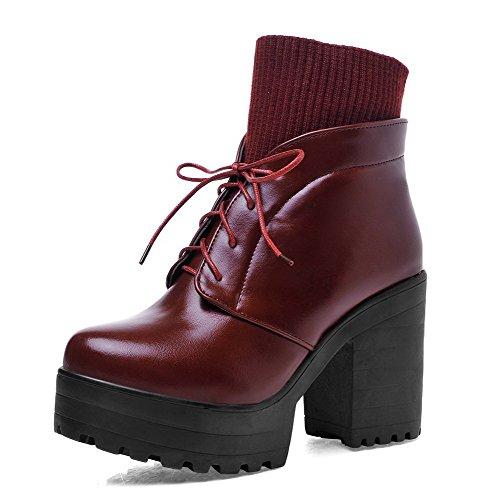 AllhqFashion Damen Niedrig-Spitze Rein Reißverschluss Stiefel mit Metall Schnalle, Schwarz, 43