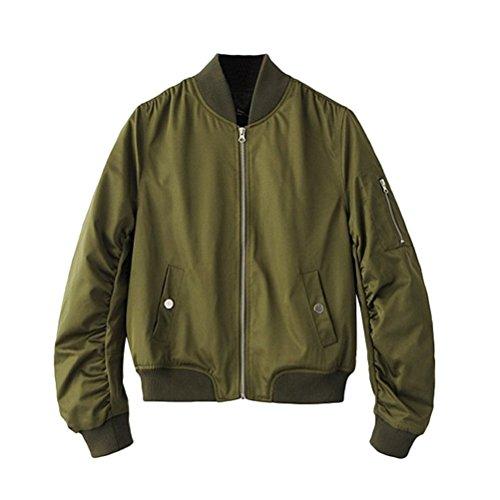 Brinny Damen Bomberjacke Bikerjacke Fliegerjacke Kurz Mantel Klassische Jacke Grün