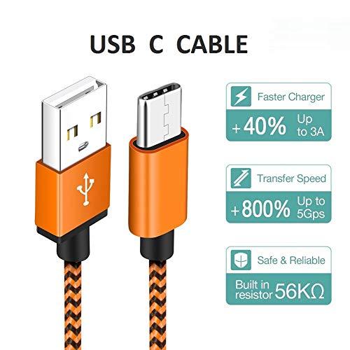 Cable USB Tipo C [3 Pack 1M] Cable Cargador Tipo C De Nylon Carga Rápida Movil Tipo C USB Cargador para Samsung Galaxy S10/S9/S8/A20/A40/A50/A70,  Huawei P9/P10/P20/P30,  Nintendo Switch,  Sony Xperia