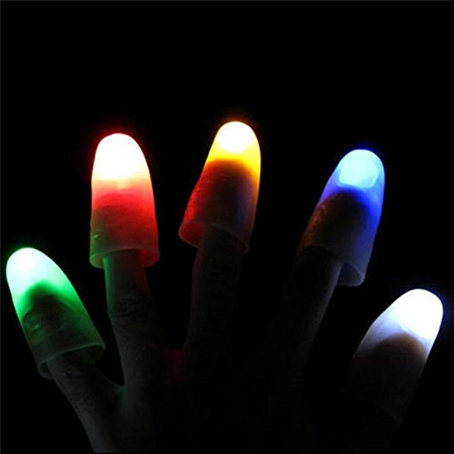 MAJGLGE 2Pcs Magic Super Bright Light Up Thumbs Fingers Party Club Christmas Trick - Random Color - Manual Air-relief