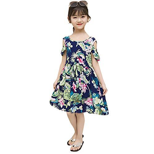 Livoral Kinder Kinder Mädchen Kurzarm Dot Print Floral Princess Schulterfreies (Hund Flug Anzug Kostüm)