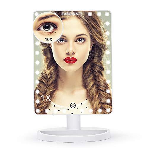 FASCINATE Grande Espejo Maquillaje con Luz, 32 LED Pantalla táctil Lámparas Cosmético con Amovible 10X aumento Ajustable 360° de Rotación Funcion