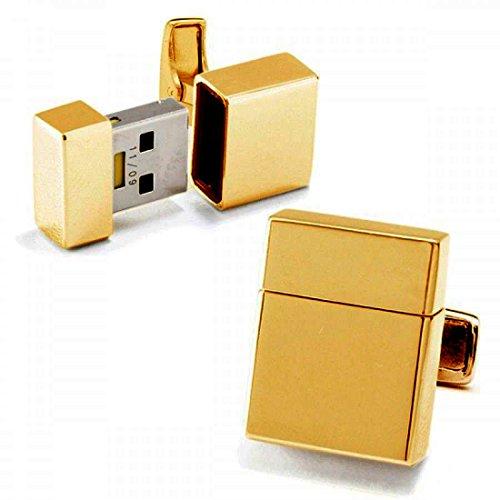 WarrenWexler - Chiave USB da 8 GB a forma di gemelli, placcati oro