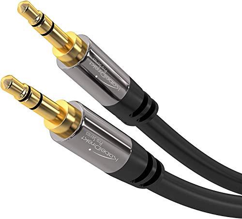 KabelDirekt - Aux Kabel, Audio & Klinkenkabel 3.5mm (Unzerstörbar konstruiert & geeignet für iPhones, iPads, Smartphones, MP3 Player, Tablet PCs, Autos & andere Stereo Geräte) - 0,5m - schwarz