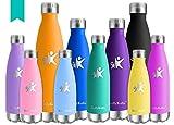 KollyKolla Bottiglia Acqua in Acciaio Inox, 650ml Senza BPA Borraccia Termica, Isolamento Sottovuoto a Doppia Parete, Borracce per Bambini, Scuola, Sport, All'aperto, Palestra, Yoga, Smeraldo