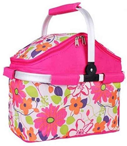 CVXCVCBCG Außen Faltbare Bewegliche Reißverschluss-Tasche Cooler Picknick-Tisch Picknick-Korb Isolierung Tasche Handtasche Rosa