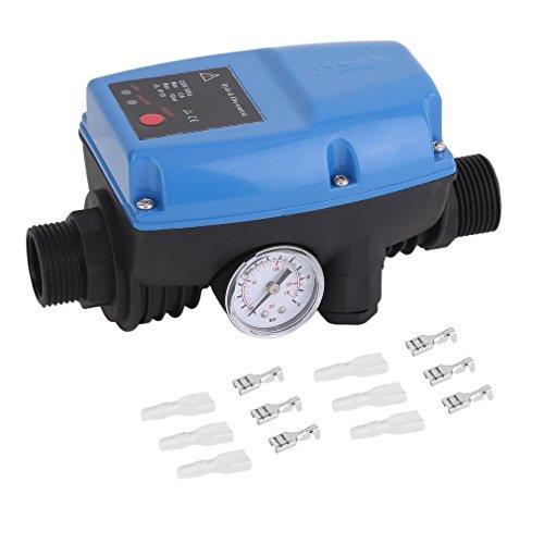 Krispich Pumpensteuerung Druckschalter 10bar Druckwächter, Elektronische Pumpensteuerung mit Druckmesser für Hauswasserwerk, Gartenbewässerung, Gartenpumpe, Tauchpumpe