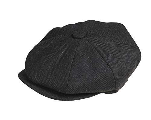 "Peaky Blinders Tellermütze, ""Newsboy""-Stil, 100% Wolle, 8 Stoffstücke Gr. X-L (61 cm), Black Herringbone -"
