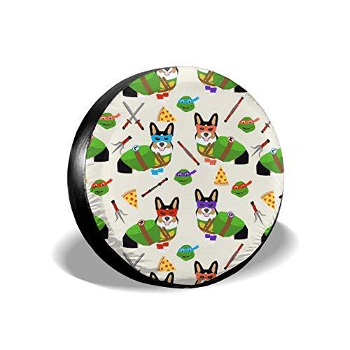tri corgi ninja turtle dog cartoon costume halloween cream Polyester Universal Spare Wheel Tire Cover Wheel Covers Jeep Trailer RV SUV Truck Camper Travel Trailer Accessories(14,15,16,17 Inch)14inch