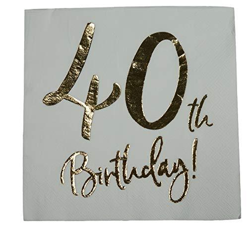 khevga Servietten 40. Geburtstag weiß mit Foliendruck in Gold (40) (Gold Weiß Und Tischdekoration)