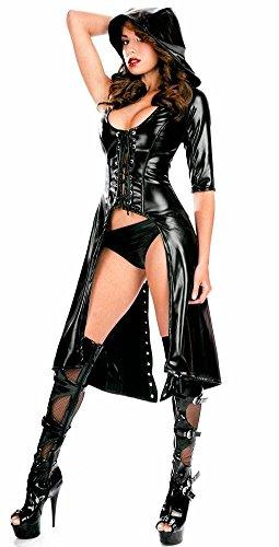 Kostüm Alle Catwoman - CHUANXING Frauen Sexy Leder Dessous Kostüm Catwoman Latex Catsuit PVC Body Overall Siamesische Kleidung Clubwear, All Code