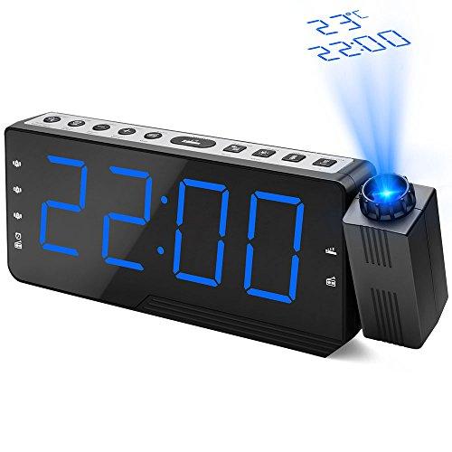 Despertador de Proyección, Dohomai Reloj de Alarma de Radio FM Digital, Reloj de Cabecera con Función de Dormitar, Pantalla de Temperatura, Tres Alarmas, Función de Temporizador de Apagado de Radio