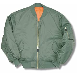 armyandoutdoors MA1 BOMBER JACKET WITH HEAVY BRASS ZIP (8XL, SAGE GREEN)