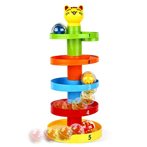 Peradix Swirl Ball Ramp Ball Drop Toy Toddlers Educational Puzzle Rolling Ball Tower Bell Stacker for Kids Activity Center Games (Cat)