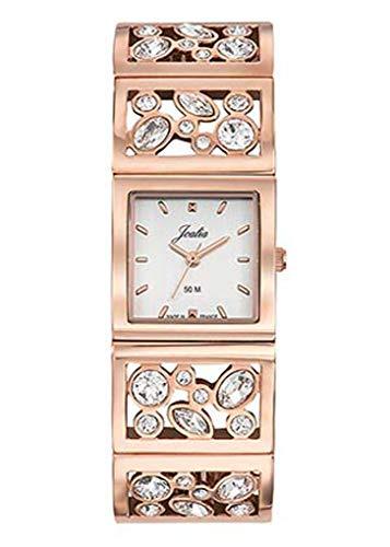 Joalia H630M560 - Orologio da donna con cinturino dorato rosa, cassa quadrata, quadrante bianco
